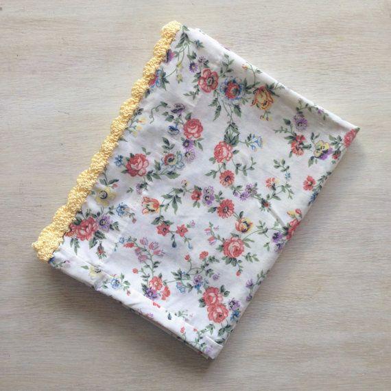 Vintage floral pillowcase with crochet trim!