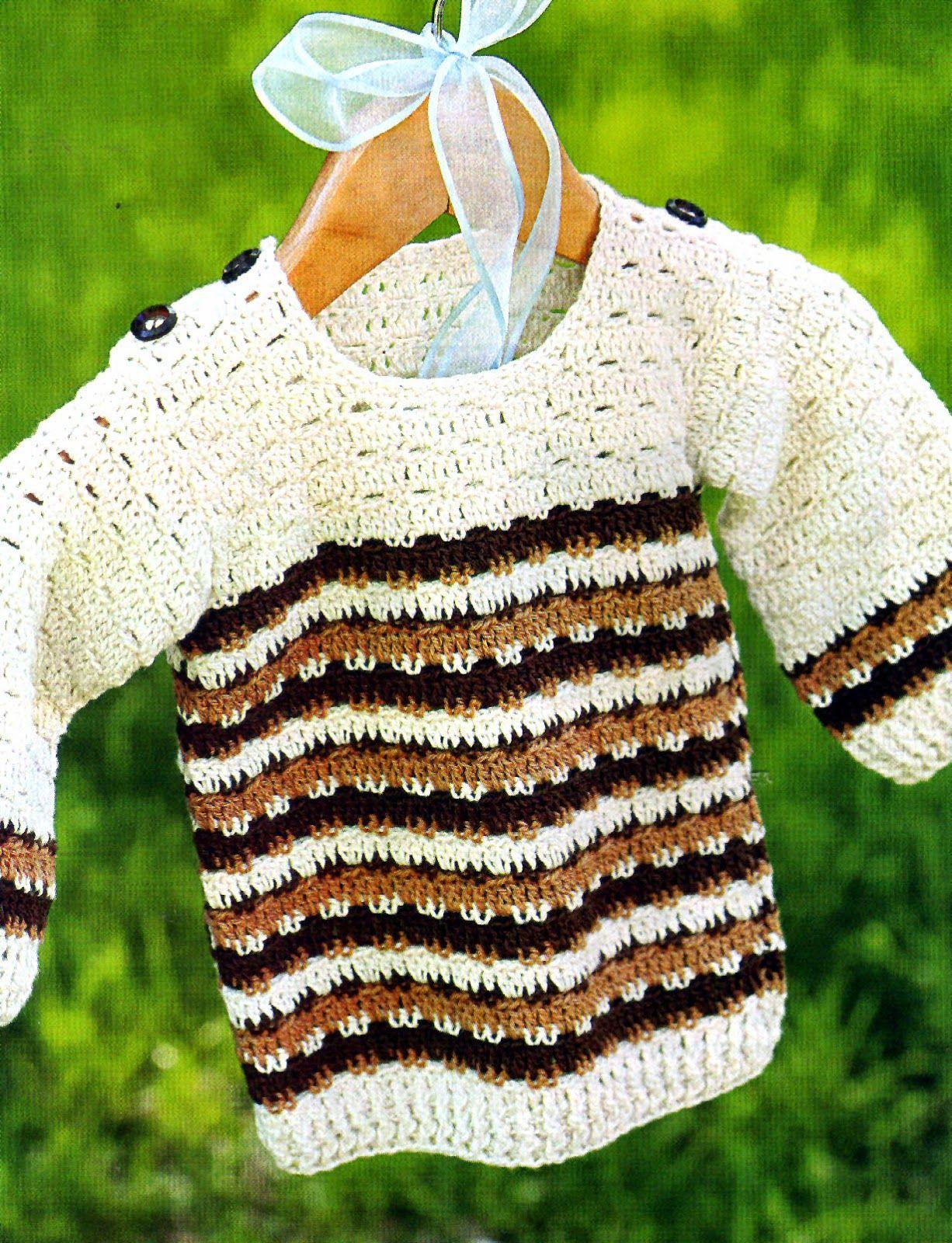 tejidos artesanales en crochet: sueter para niño tejido en crochet ...