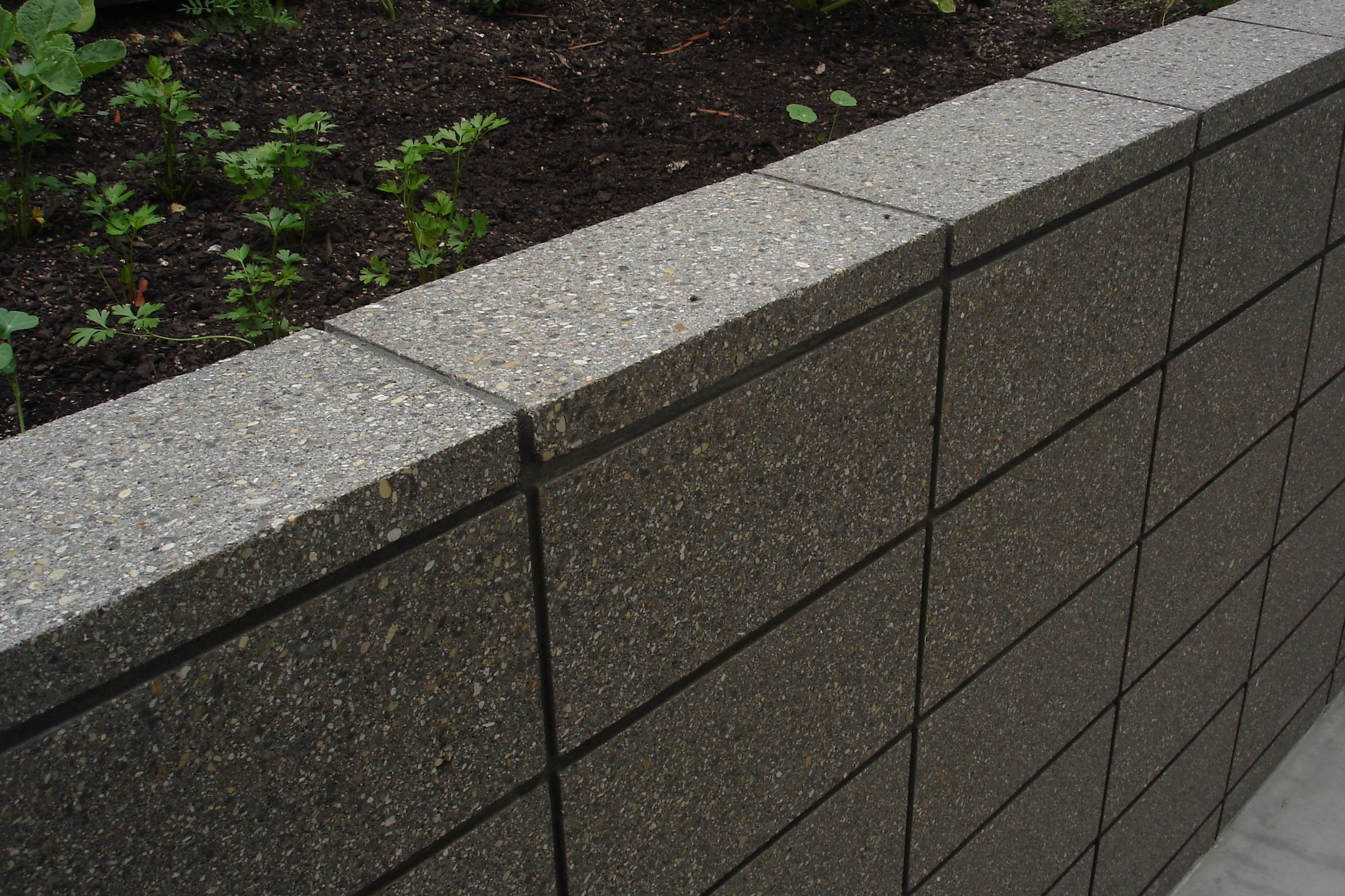 Honed grey coloured masonry retaining wall sealed in a wet for Block wall landscape design