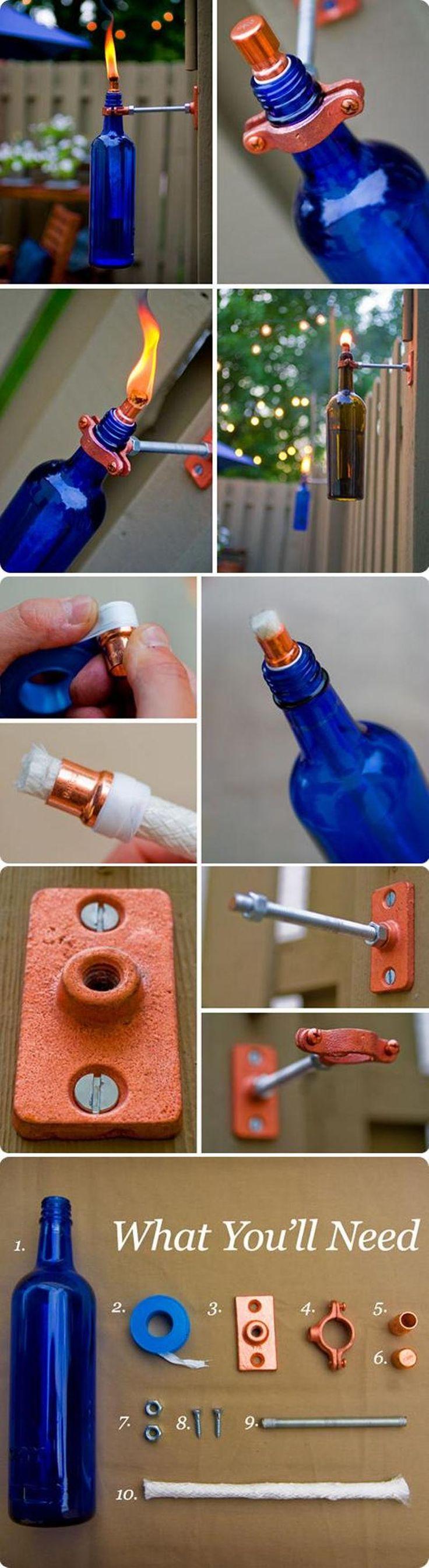 Antorchas de jardn con botellas de vidrio
