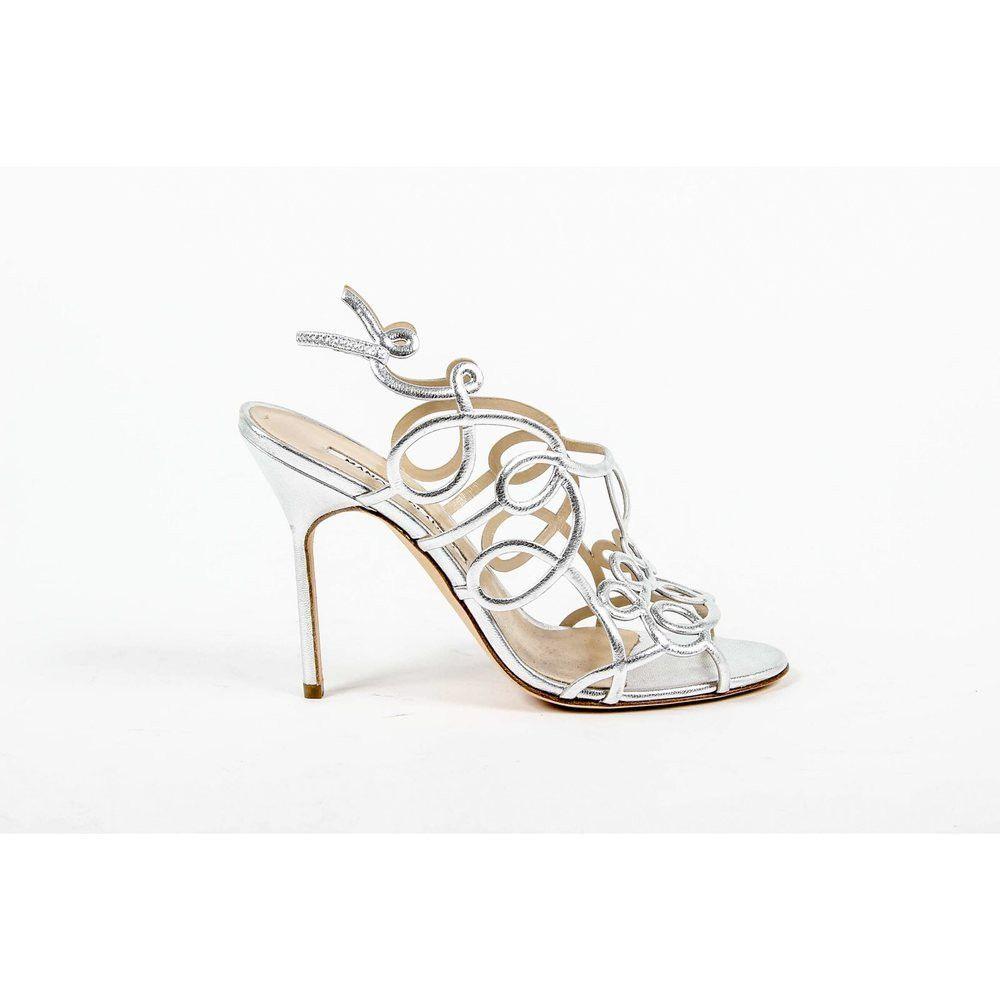 Silver 36 EUR - 6 US Manolo Blahnik Womens Cut Out Sandal GORI OS LAMIN 3915