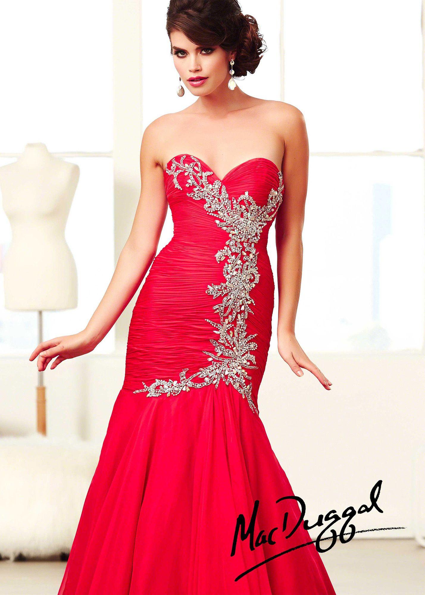 Mac duggal h cherry strapless mermaid prom dresses online