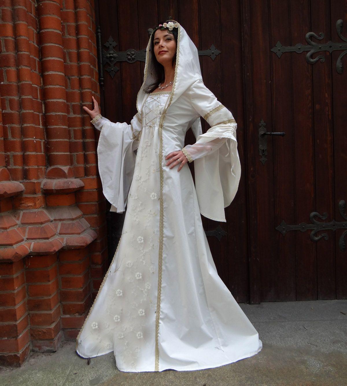 Elfen Brautkleid Kapuzen Mittelalterkleid Spitze Hochzeit