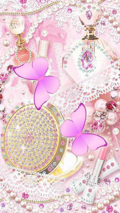 Pink butterflies and jewels