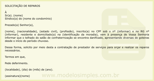 10eba041a Modelo de Carta de Notificação ao Síndico Solicitando Reparos Necessários