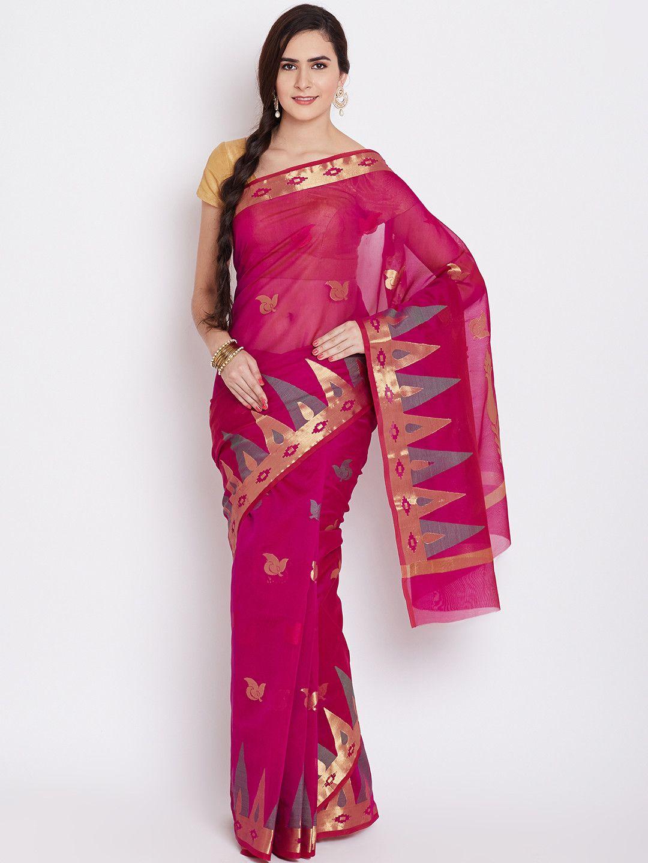 Buy Bunkar Magenta Patterned Banarasi Saree -  - Apparel for Women from Bunkar at Rs. 1000