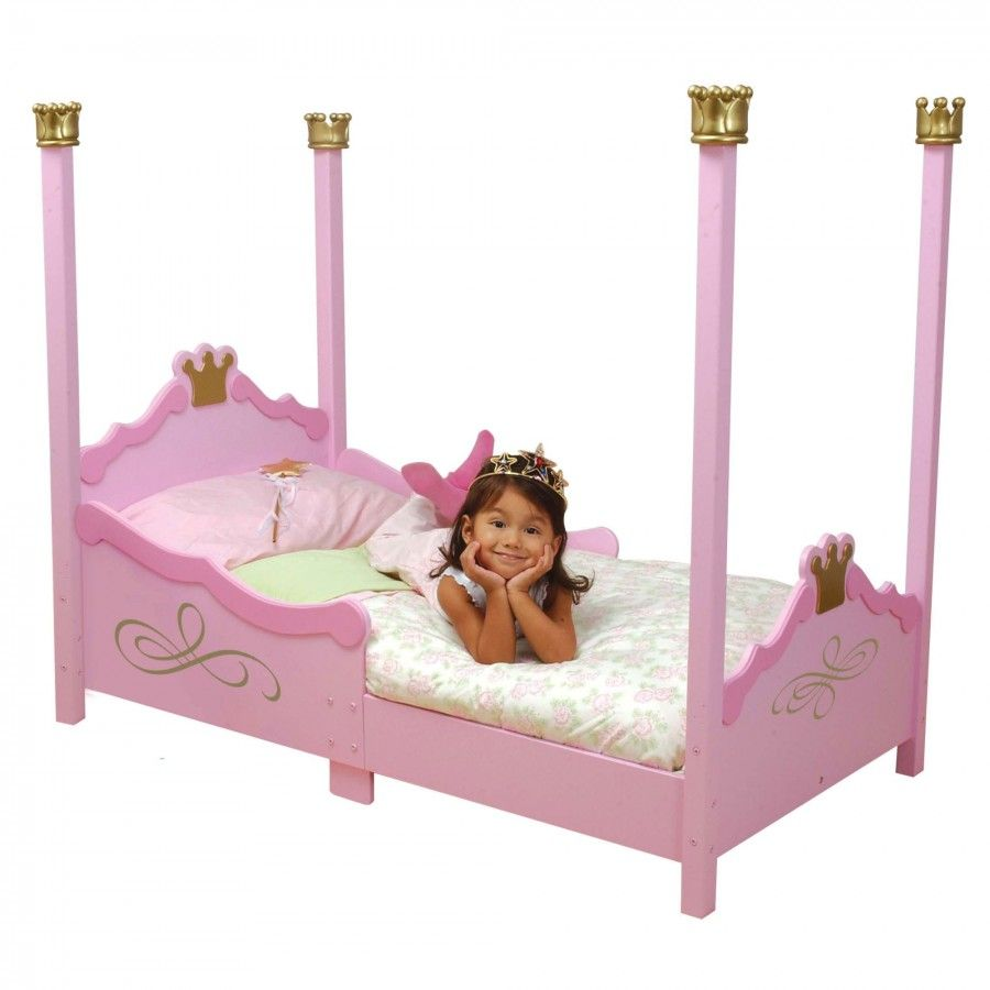 The KidKraft Princess Toddler Bed Adds A Touch Of Royal Elegance To Any Kids Room Rich Pink Tones With Gold Filigree And Crown Flourishes Will Transform