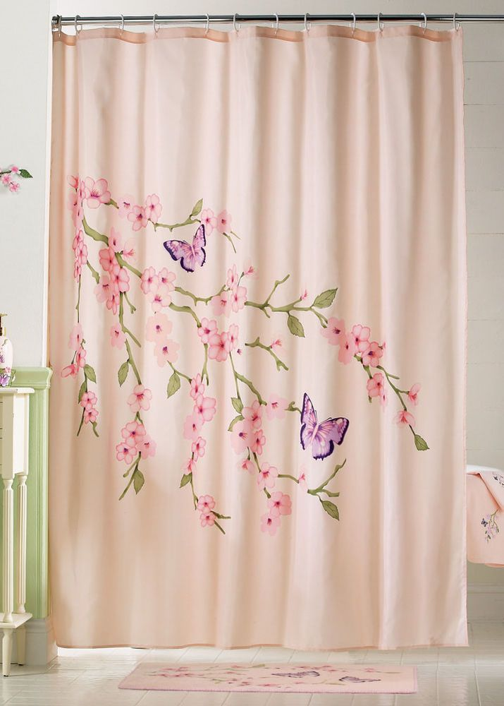 Cherry Blossom Butterfly Shower Curtain In Hand Pink Fabric