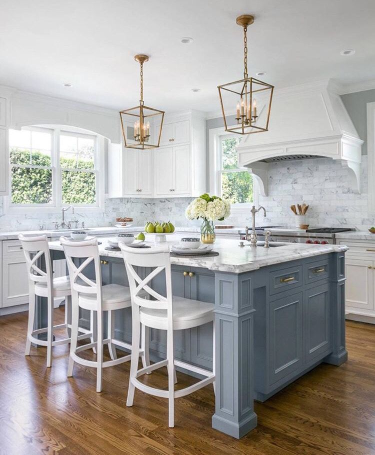 20 Ideas For Grey Kitchens Both: Blue Gray Island, White Cabinets, Marble Counter, Marble