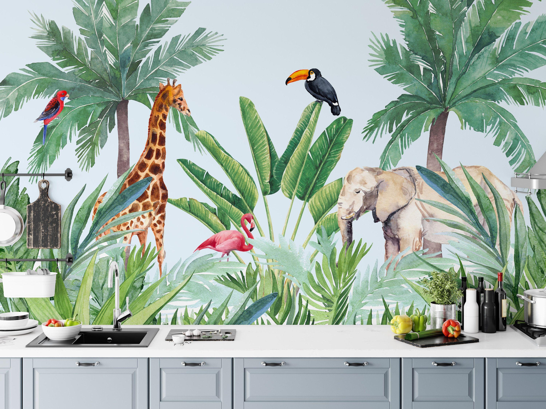 Papier peint chambre d'enfant Jungle aquarelle. Girafe éléphant et oiseaux peler et coller …