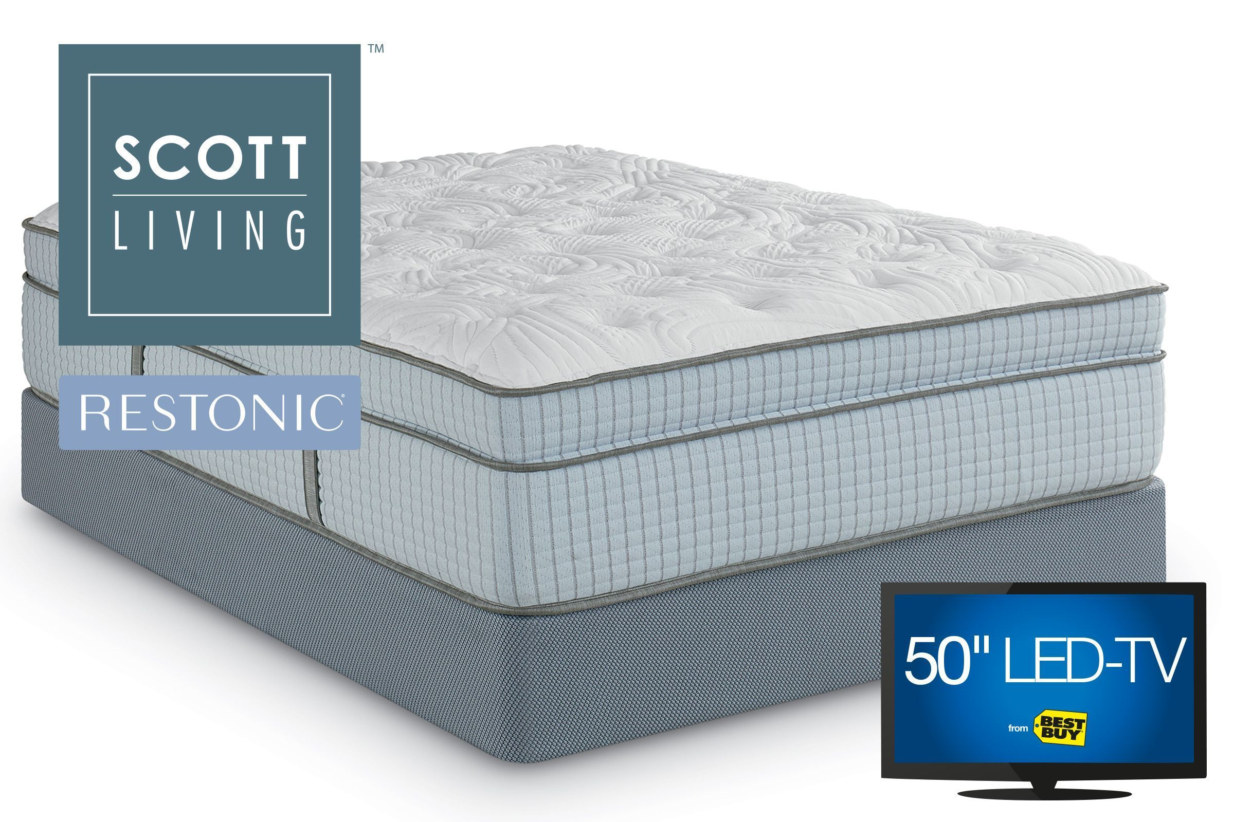 Scott Living By Restonic Renfrew Euro Top Microcoil King Mattress With 2 Split Flat Foundations Adjustable Base Cool Things To Buy Mattress