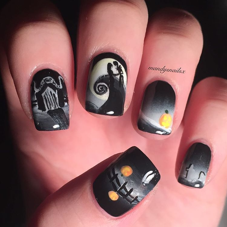 this years the nightmare before christmas nails i used sally_hansen black out and fresh paint firefly for the gradient base the rest is acrylic paint
