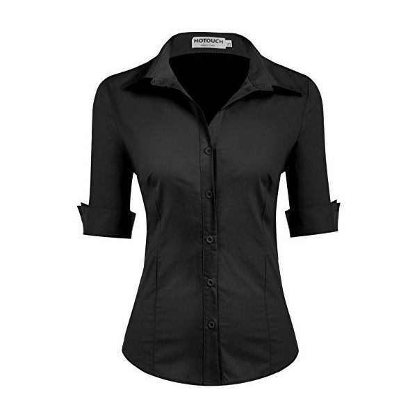 c4ef39348be HOTOUCH Womens long Sleeve Button Down Shirt with Stretch ($30) ❤ liked on  Polyvore featuring tops, shirt top, long sleeve stretch top, stretch top,  ...