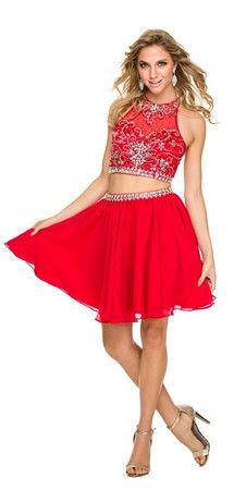 Halter sequins top & short sassy chiffon skirt- LXO6060
