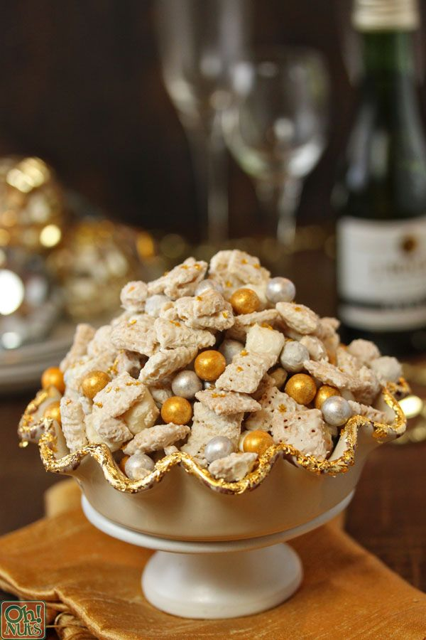 Party Food Idea - Silver and Gold Cereal Snack Mix