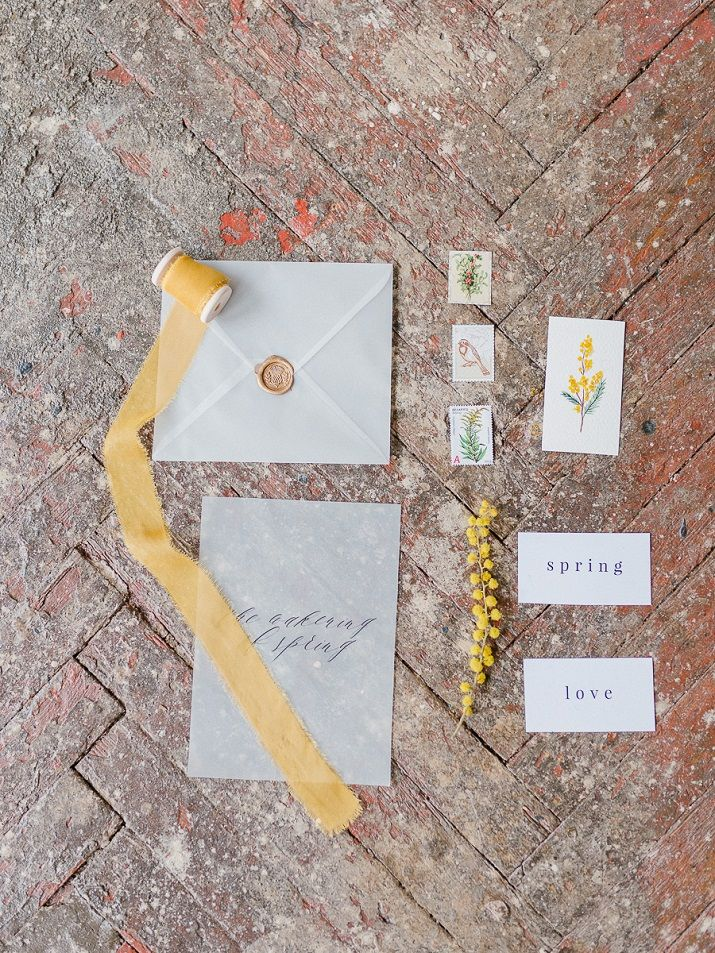 Wedding Stationery - Yellow Mimosa Flowers Inspired Wedding Shoot | fabmood.com #wedding #springwedding #yellowwedding #weddinginspiration