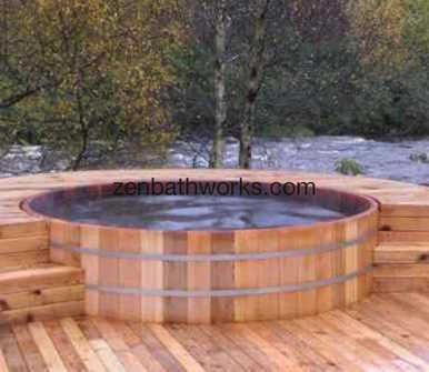 Extra large 7 39 cedar hot tub with electric heat by zen for Oversized garden tub