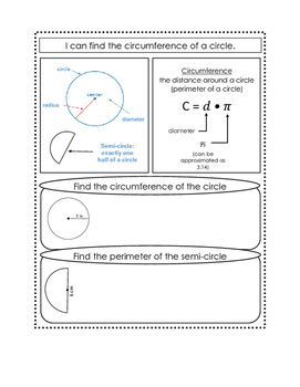 Circumference Of A Circle Notes Page With Images Area Of A