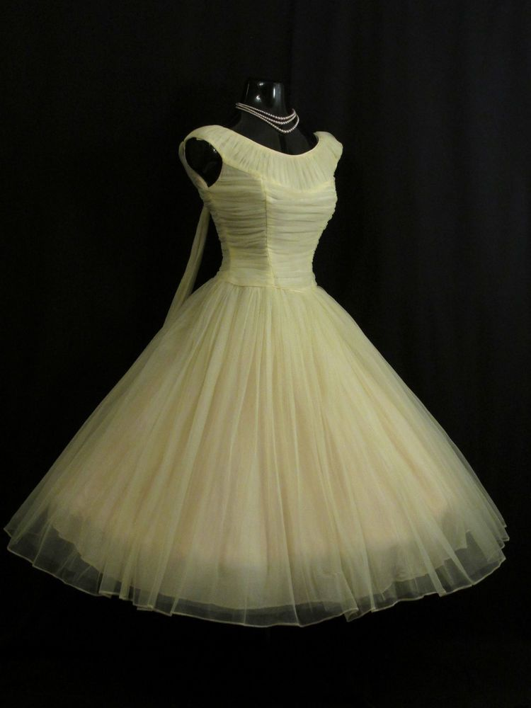 3d4f0fef469 Vintage 1950 s 50s Lemon Yellow Ruched Chiffon Organza Party Prom DRESS