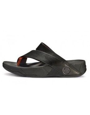 1a236b3c7 Mens FitFlop Sling Leather Black Orange
