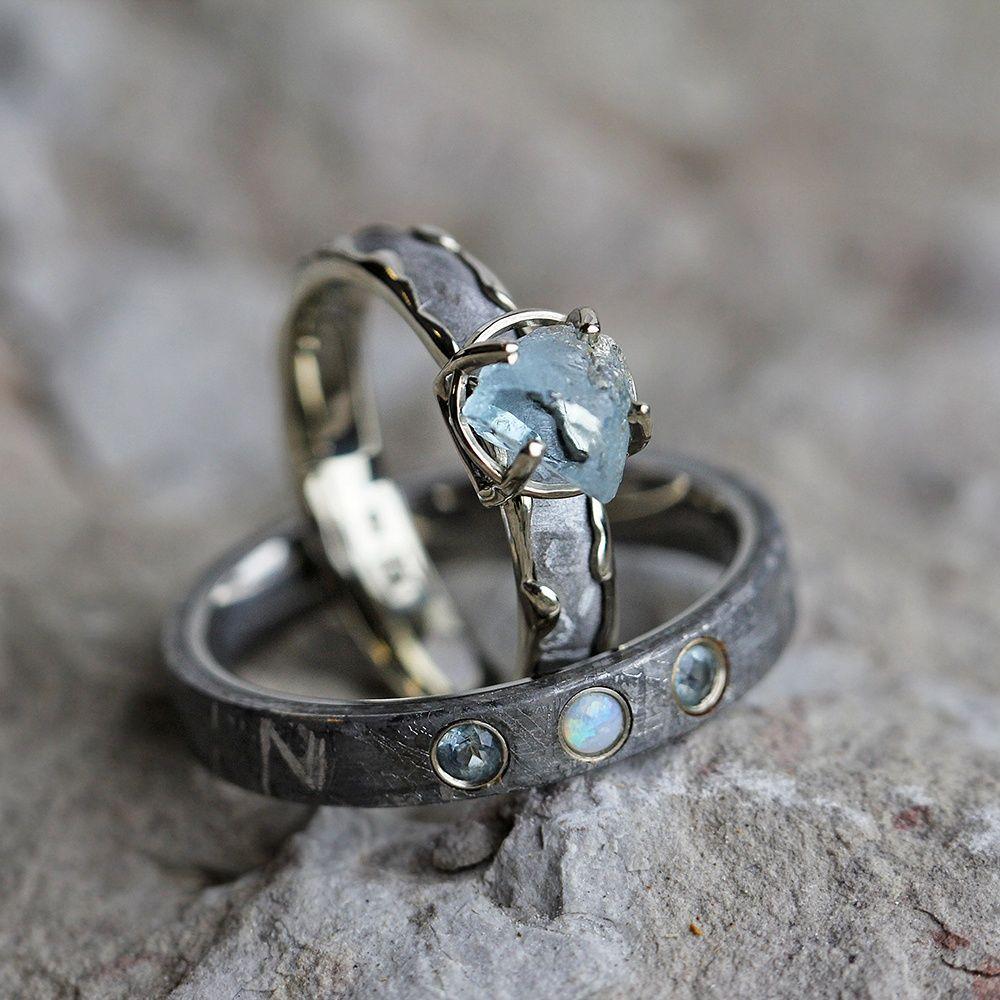 opal wedding ring sets Gemstone Wedding Ring Set Rough Aquamarine Engagement Ring With Opal Wedding Band