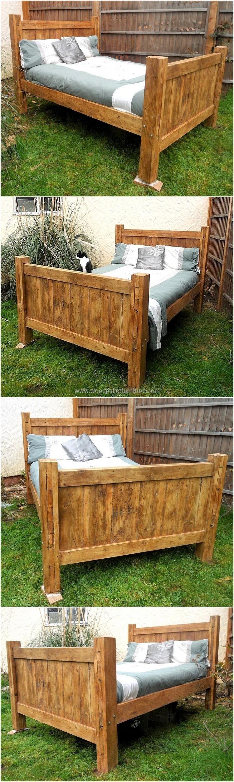 Rustic look pallet bed wood pallets pinterest pallets pallet