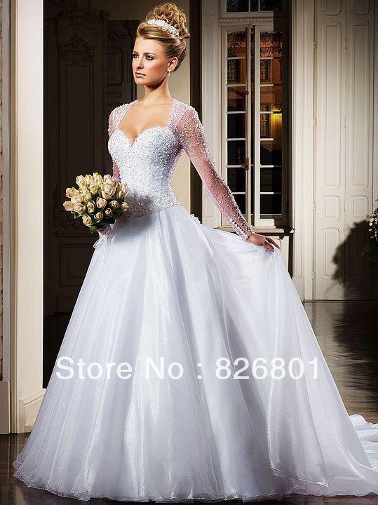 BeautifulBeading-Long-Sleeve-SeeThrough-Back-Princess-Ball-Gown ...