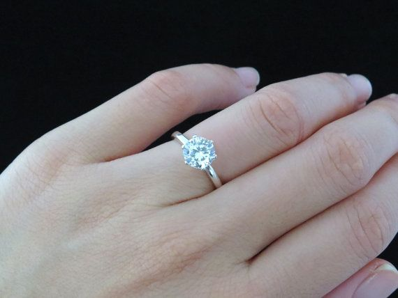 Sz 10 Or 12 1 5 Ct 6 Prong Solitaire Engagement Ring 7mm Etsy Prong Engagement Rings Handmade Engagement Rings Man Made Diamonds