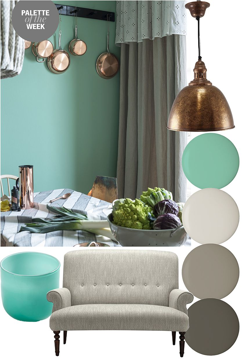 Palette of the week copper teal and grey 2014 march for Turquoise color scheme living room