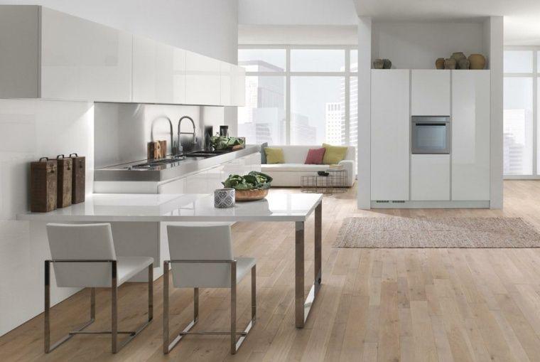 Cuisine Blanche Laquée Exemples Modernes Et élégants Cuisine - Salle a manger laque blanc pour idees de deco de cuisine