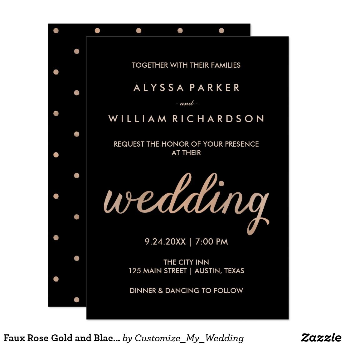 Faux Rose Gold And Black With Polka Dots Wedding Card These Stylish