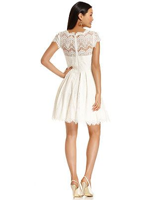 Xscape Dress Cap Sleeve Lace A Line