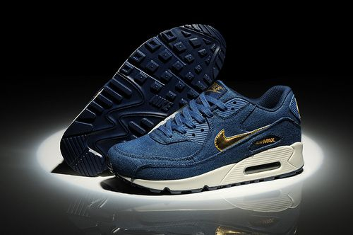 Nike Air Max 90 Denim Dark azul With oro Swoosh Hombre-Mujeres