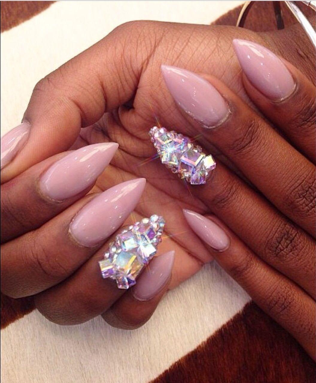 Pink stiletto nails with diamonds | Nails × | Pinterest