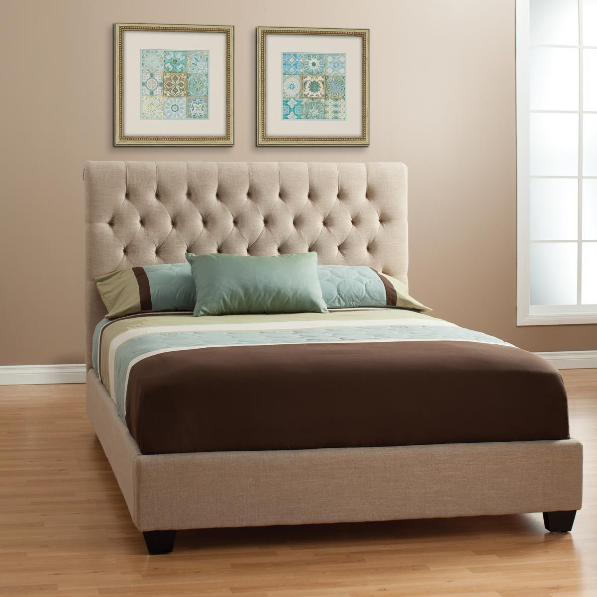 The Natural Look Of The Chloe Upholstered Bed Sets A Mood That Begs For Total Relaxation Thick Padd Upholstered Beds Fabric Upholstered Bed Jerome S Furniture