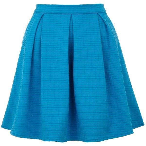Yumi Textured skater skirt (180 GTQ) ❤ liked on Polyvore featuring skirts, bottoms, saias, faldas, blue, clearance, knee length circle skirt, textured skirt, skater skirt and circle skirt