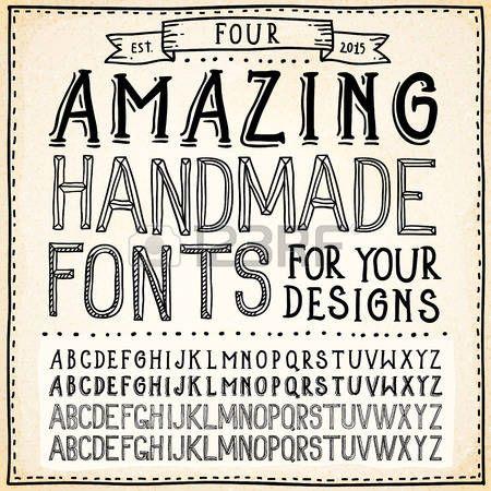 Handwriting Alphabets. Vector Hand Drawn Fonts photo