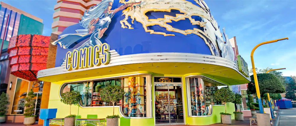 At The Comic Book Shop In Universal Orlando You Can Shop For Marvel Comic Books Graphic Novels Col Comic Book Shop Comic Books Universal Islands Of Adventure