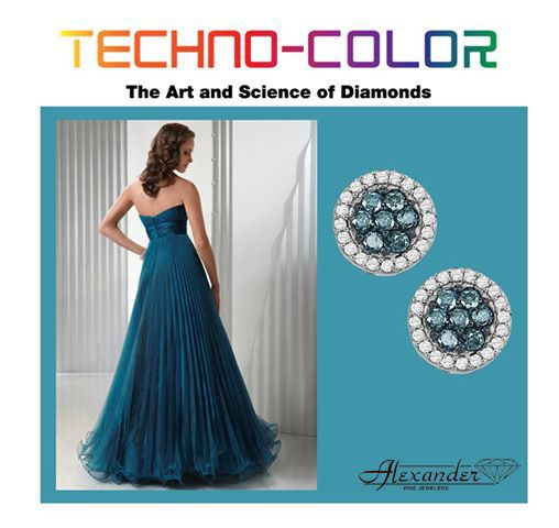 d7f339646d6 Beautiful teal diamond earrings by Techno-color