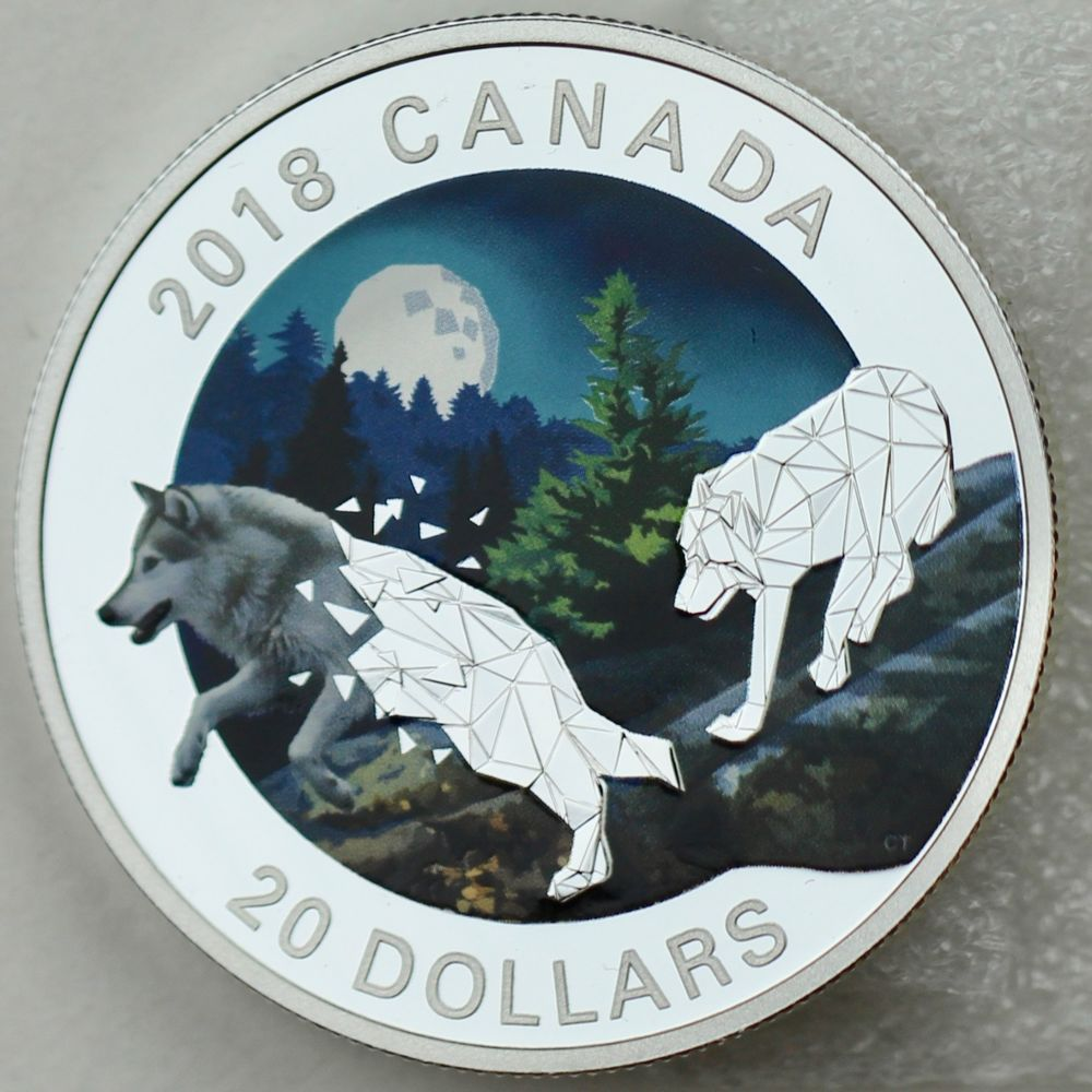 2018 20 Geometric Fauna Grey Wolf 1 Oz 9999 Pure Silver Colored Proof Coin Canadian Gold Coins Canadian Coins Gold Coins