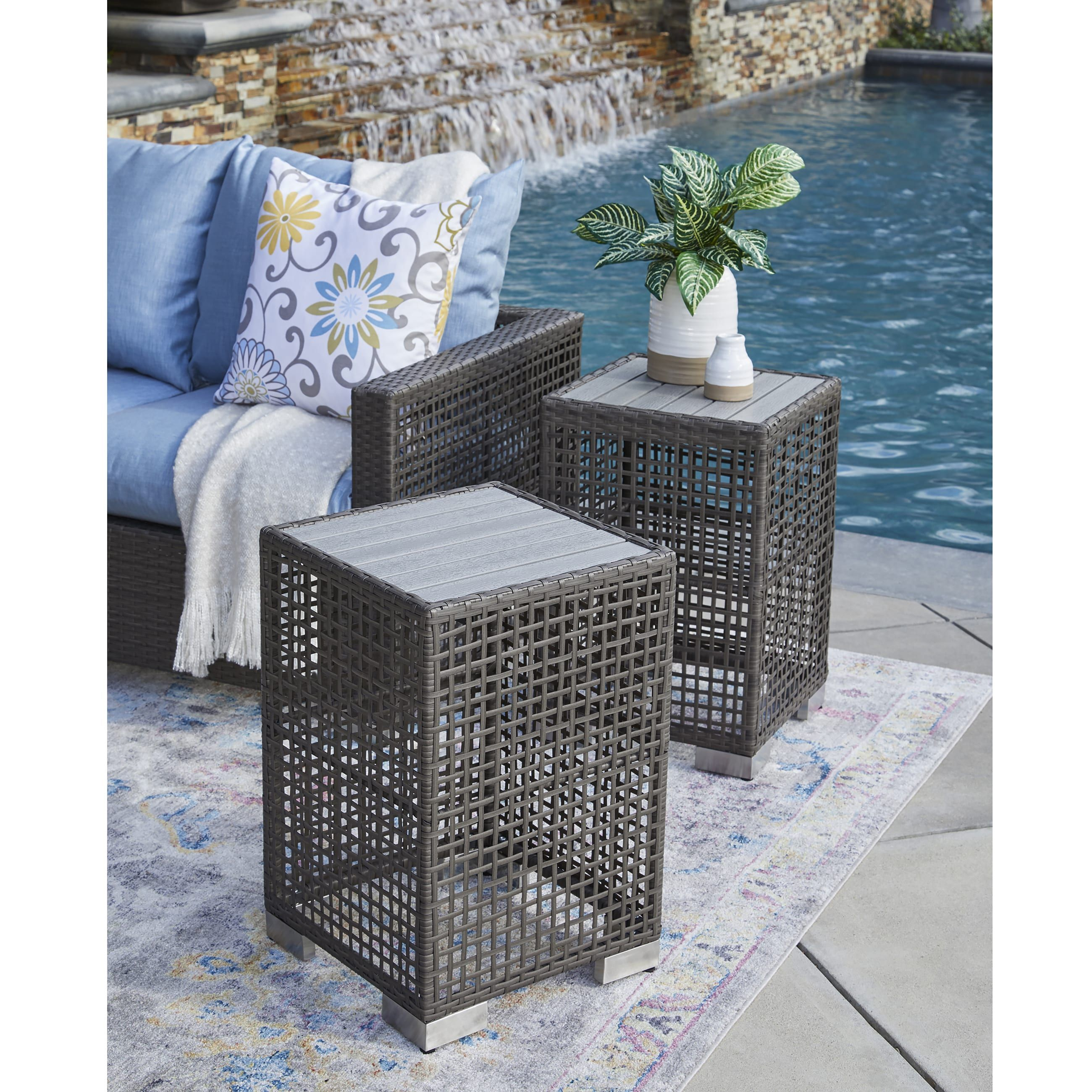 Havenside Home Plymouth Warm Grey 2 Piece Resin Rattan End Tables