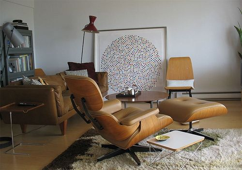 Mid century modern living room, brown leather Eames lounge