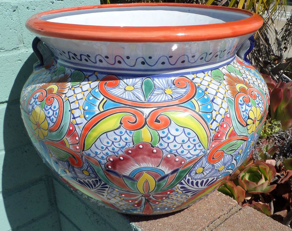 mexican stand in planters plant clay of accents planter terra the pot p cotta yellow with arizona round