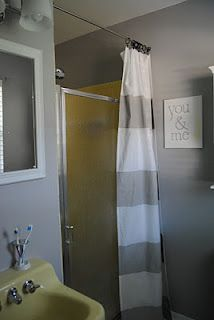 Bathroom Makeover Use A Curtain To Hid A Dated Stand Up Shower