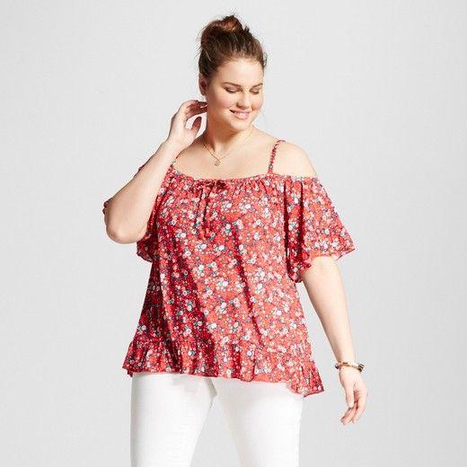 Women's Plus Size Floral Print Flounce Cold Shoulder Blouse - Almost Famous : Target
