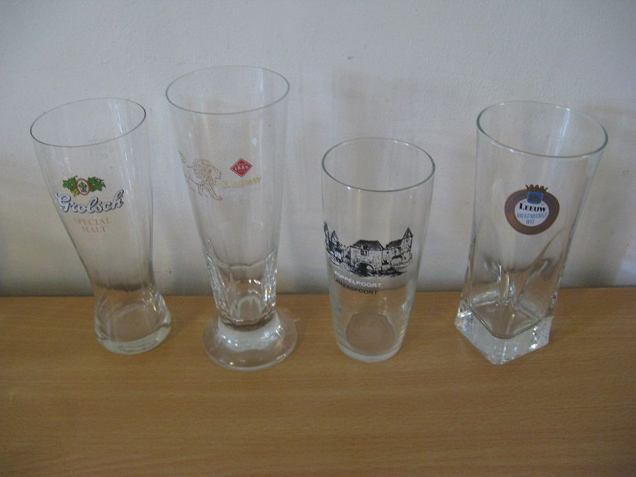 Four original glasses: 2 x Leeuw 1 x Grolsch; 1x Koppelpoort Amersfoort,Clean-up