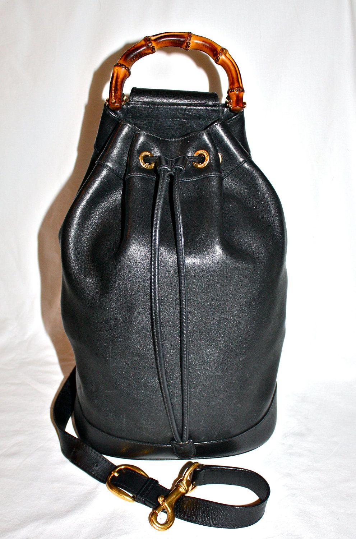 26701ec1ef3 Authentic GUCCI BACKPACK Large Sling Vintage Black Leather Bamboo ...