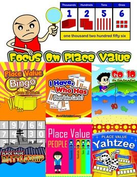 FOCUS ON PLACE VALUE (ULTIMATE BUNDLE)Part One: 28 Place Value Games & ActivitiesPart Two: 8 Place Value Posters & Anchor ChartsPart Three: Plus a Handful of Place Value Graphic Organizers & Place Value Dice & a huge assortment of Place Value Cards (ex.
