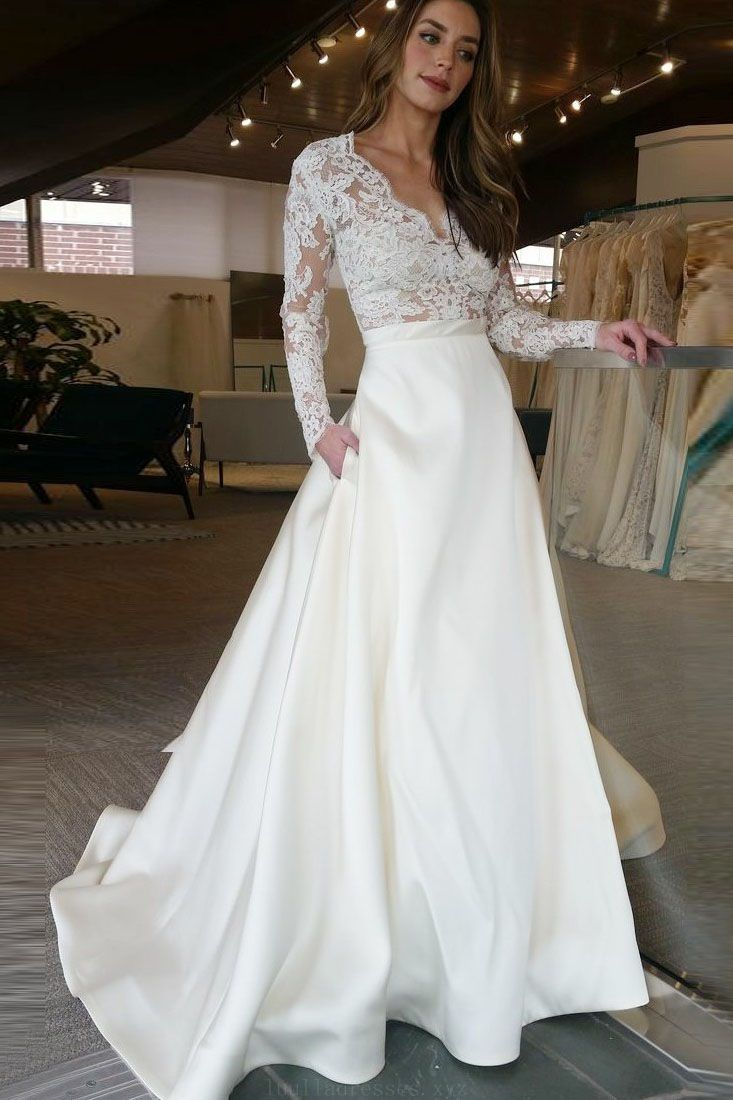 Outstanding wedding dresses classic long sleeves ivory long