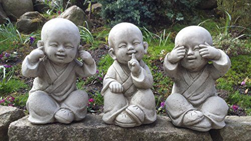 Buddha Speak See Hear No Evil Set Of 3 Cast Stone 400 x 300